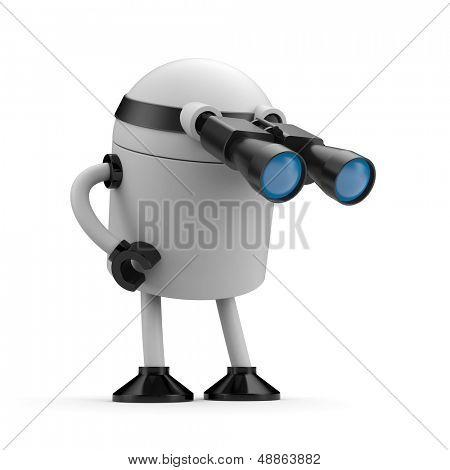 Roboter sucht im Fernglas