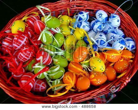 bunch of easter eggs in a basket poster