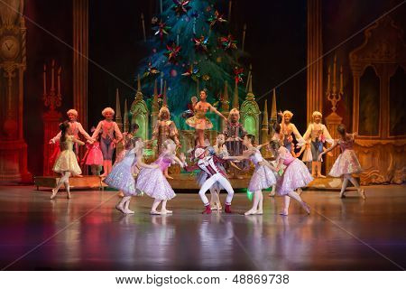 MOSCOW - DEC 30: The main characters of fairy The Nutcracker is surrounded by other heroes on the stage of the Cultural Center ZIL on December 30, 2012, Moscow, Russia.