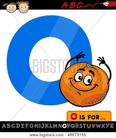 Letter O With Orange Cartoon Illustration