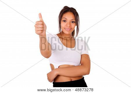 Portrait Of African Young Woman Showing Thumb Up Sign