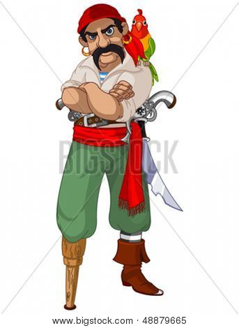 Illustration of cartoon pirate with parrot
