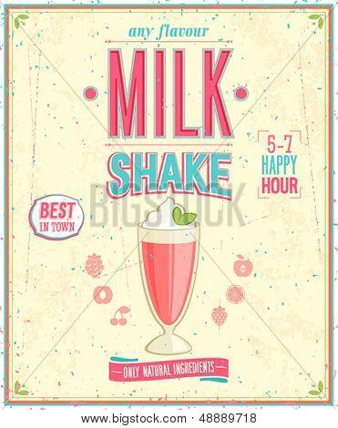 Vintage MilkShake Poster. Vector illustration.