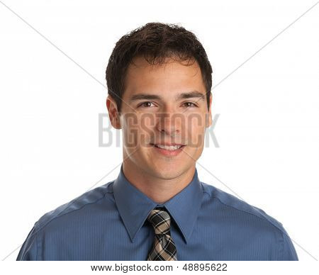 Young Businessman Facial Expression Smiling on Isolate White Background