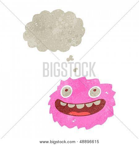 happy little furball creature retro cartoon