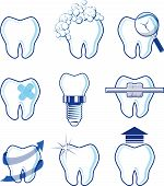 dental icons designs isolated on white background, vector format very easy to edit, individual objects, no gradients, only solid colors poster