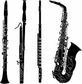 Woodwind musical instruments in vector silhouette including bassoon flute oboe and saxophone poster