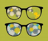 Retro eyeglasses with birds reflection in it. Vector illustration of accessory. poster