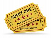 Cinema industry entertainment film production and movie premiere concept: group of yellow tear-off tickets with Admit One text isolated on white background poster