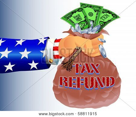 Uncle Sam Refunding Tax Money