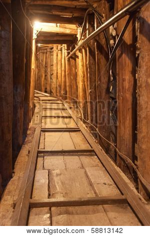 SARAJEVO, BOSNIA AND HERZEGOVINA - AUGUST 12, 2012: Interior of the Sarajevo Tunnel Museum. It was constructed by the Bosnian Army during the war to link the city with the Bosnian-held territory.
