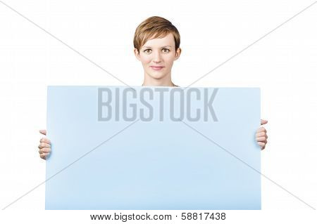 Pretty Pert Young Woman With A Empty Board