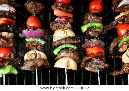 Top View Of BBQ Sticks