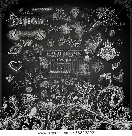 Hand Drawn floral ornaments with flowers and birds   Love elements   Engraving tree and flowers for spring and summer design   Vintage Labels   Chalkboard illustration variant