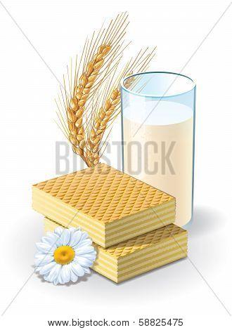 Waffles and milk illustration