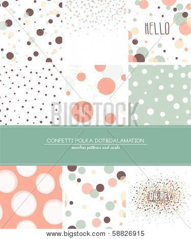 A set of 9 Confetti, Polka Dot and Dalmatian seamless patterns and greeting cards with space for your text. Pastel trendy style.