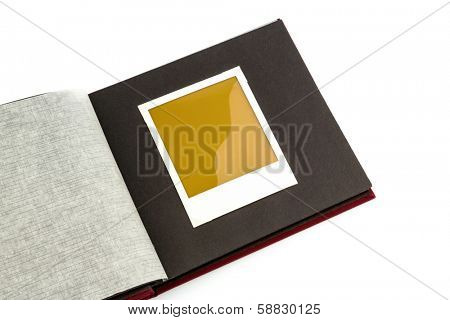 album front of white background, symbol photo for memories and documentation poster