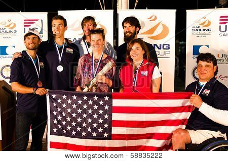 U.S. Medalists at the ISAF Sailing World Cup In Miami.