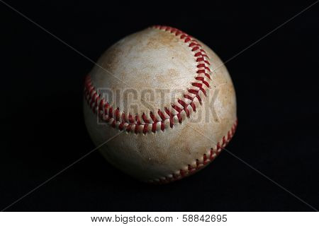 Worn Baseball with no logos on Black Background