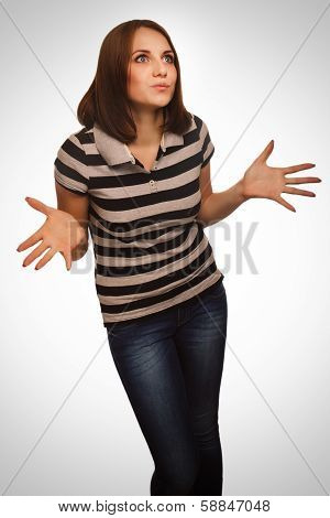 dissatisfied angry young woman haired girl emotion isolated on w