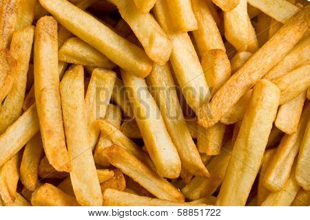close up of fried french fries