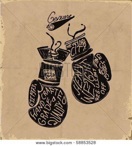handmade illustration vector sketch athletics boxing gloves