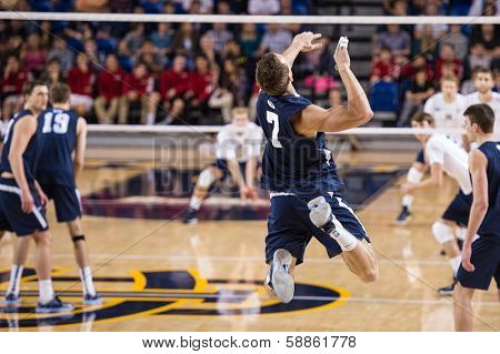 IRVINE, CA - JANUARY 17: Brigham Young University's Phil Fuchs serves in a volleyball match with the University of California - Irvine at the Bren Events Center in Irvine, CA on January 17, 2014