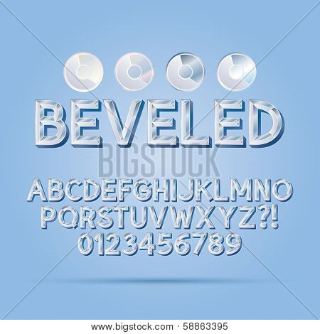 Crystal Beveled Outline Font And Numbers, Eps 10 Vector, Editable For Any Background