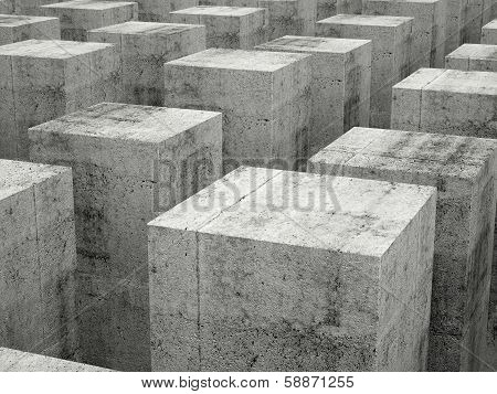 Abstract construction background with array of gray concrete blocks poster