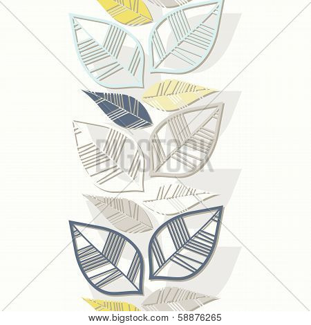messy retro beige blue navy yellow white leaves on white background seasonal seamless vertical border poster