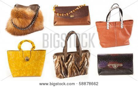 Set of multicolored female bags fur and leather  on a white background
