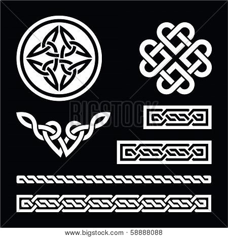 Celtic white knots, braids and patterns on black background