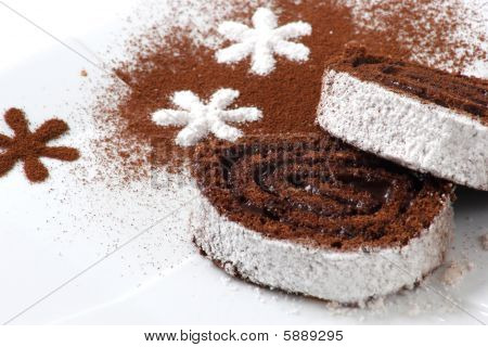 great dessert with choko and coconut in white background poster