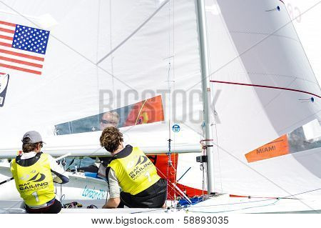 Mcnay & Hughes Medal In The 470 Class At The Isaf Sailing World Cup Miami