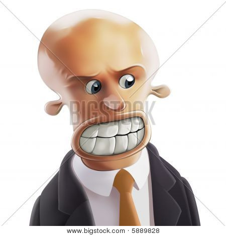 Furious bald-headed Businessman with big teeth and round eyes poster