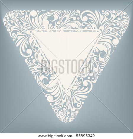 decorative label in triangle shape, vector illustration