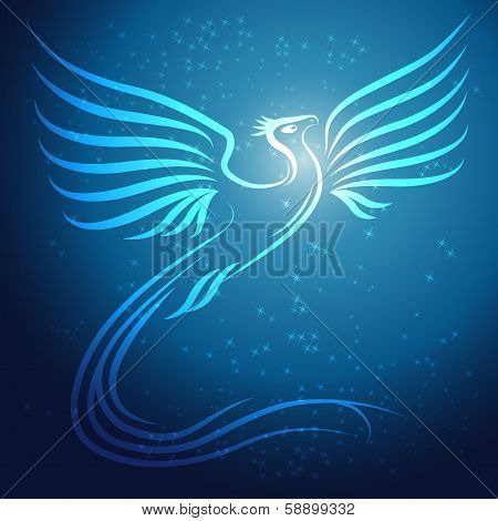 Shining abstract Phoenix bird on blue background with stars - vector illustration poster