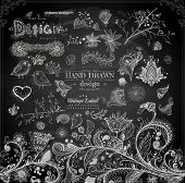 Hand Drawn floral ornaments with flowers and birds | Love elements | Engraving tree and flowers for spring and summer design | Vintage Labels | Chalkboard illustration variant poster