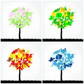 Set of four abstract trees in four seasons. Vector illustration. poster