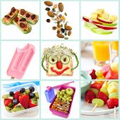 Collection of healthy snacks particularly for children.  Includes ants on a log, trail mix, apple and cheese, frozen yogurt, smiley face sandwich, fruit salad and kebabs, and a healthy lunchbox. poster