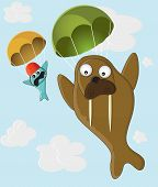 funny skydivers Walrus and fish flying with a parachute poster