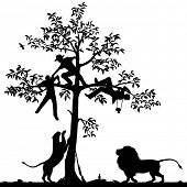 Editable vector silhouette of three men chased into a tree by a pair of lions with all figures as separate objects poster