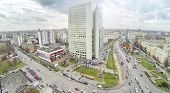 Preobrazhenskaya square at dull day in Moscow, Russia. View from unmanned quadrocopter poster