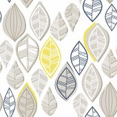 retro beige blue navy yellow white leaves in rows on white background seasonal seamless pattern poster