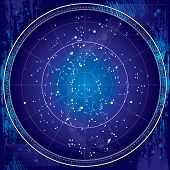 Celestial Map of The Night Sky. Astronomical Chart of Northern Hemisphere (Dark Blueprint version EPS-8) poster