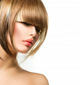Beautiful Fashion Woman Hairstyle for Short Hair. Fringe Haircut. Beauty Model Girl portrait with hair style. Makeup. Isolated on a White Background. Fashion Woman portrait. Hair coloring poster