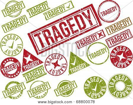 Collection Of 22 Red Grunge Rubber Stamps With Text
