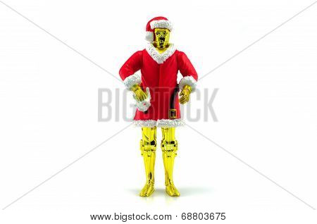 Cpo Character From Star Wars Movie Ware In Santa Claus Costume Christmas Day.