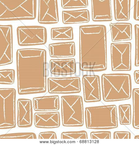 poster of Vector seamless pattern - many craft envelopes