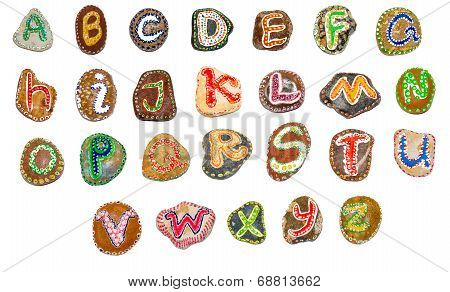 Alphabet Painted On Stones - All Letters
